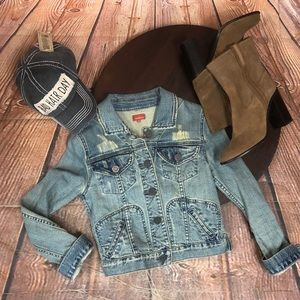 Sundance XS Blue Jean Denim Jacket Distressed